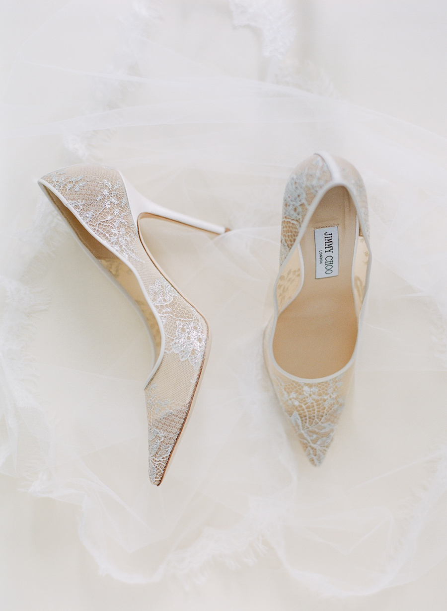 Jimmy Choo white lace wedding shoes